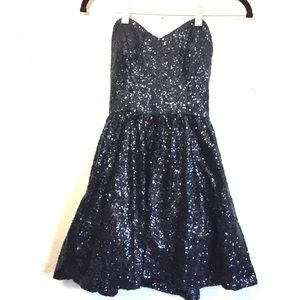 Camille La Vie Navy Sequin Sleeveless Formal Dress